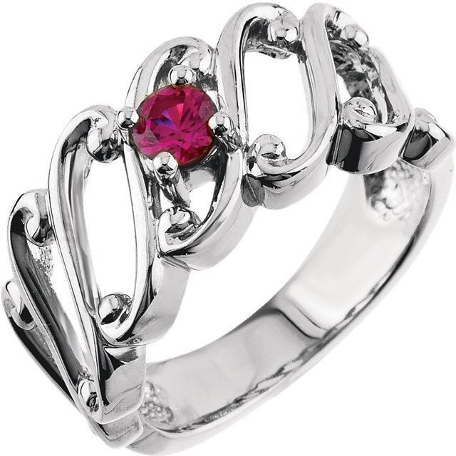 Picture of Silver 1 to 2 Round Stones Mother's Ring