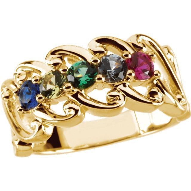 5 stones mother ring