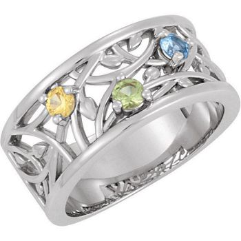 0d7fd0af879a4 Silver 3 to 5 Round Stones Mother's Ring