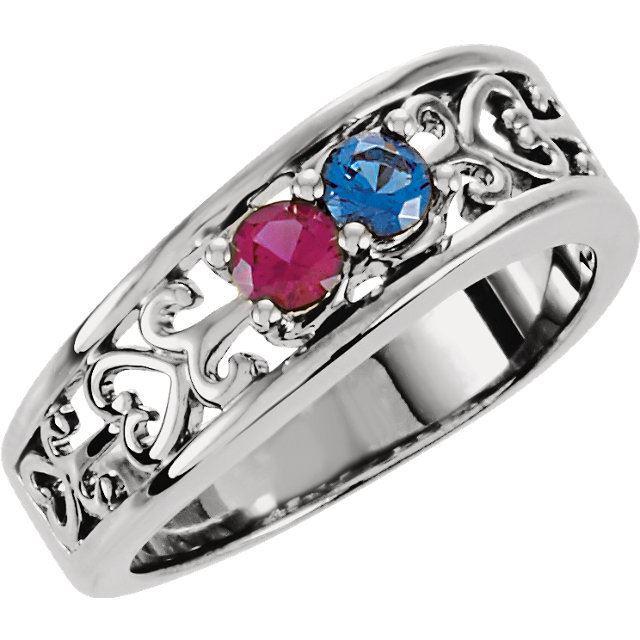 2 stone birthstone ring for mom