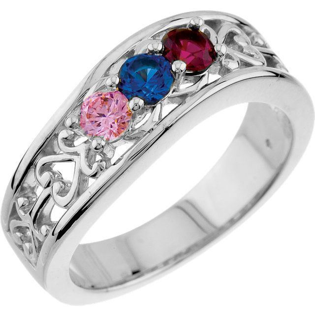 3 stone birthstone ring for mom