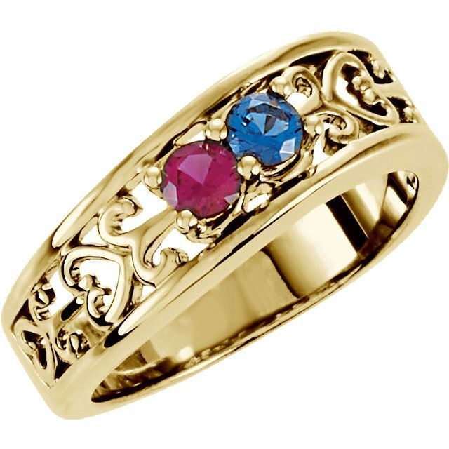 2 stone birthstone ring for mom