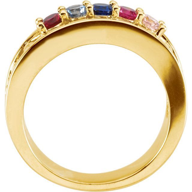 Picture of Gold 4 to 5 Round Stones Mother's Ring