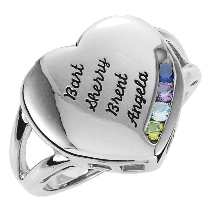 engraved ring family mom