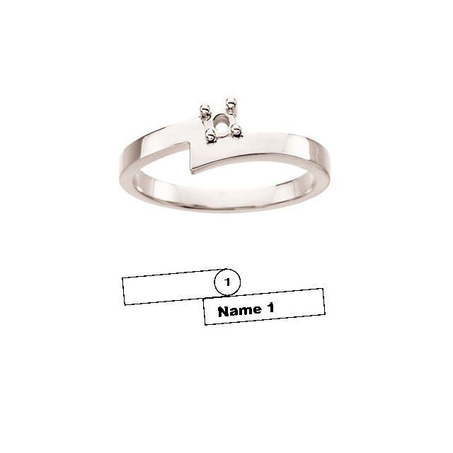 Picture of Silver 1 to 4 Stones/Names Engravable Mother Ring