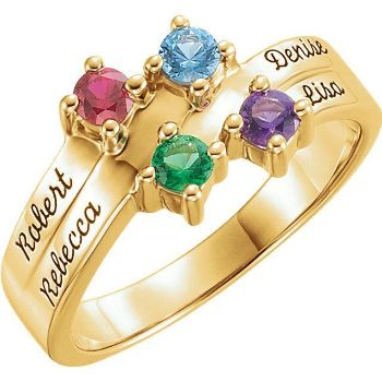 mother family name engraved ring 4 stones