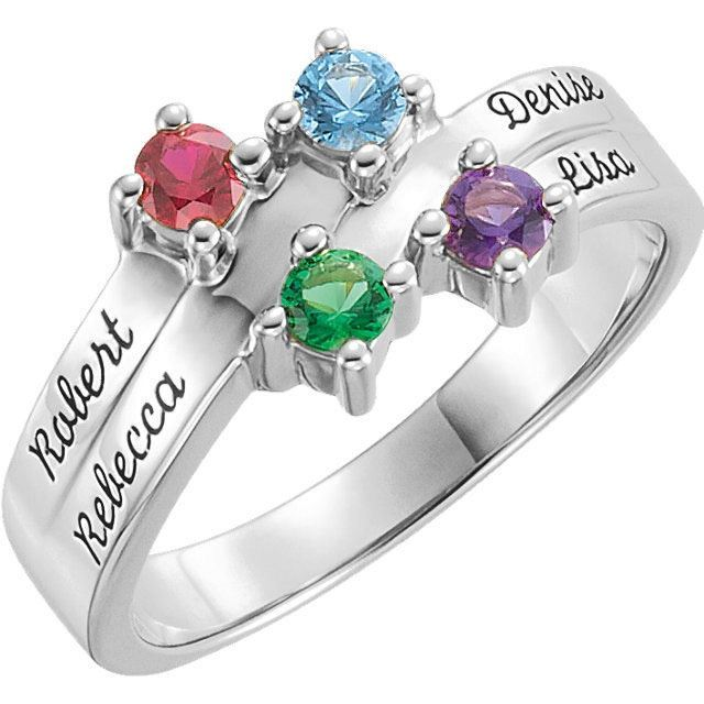 white mother family name engraved ring 4 stones