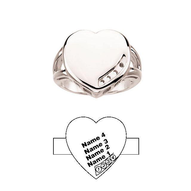 heart engraved moms ring 4 stones white