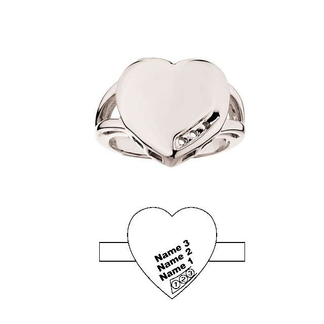 heart engraved moms ring 3 stones white