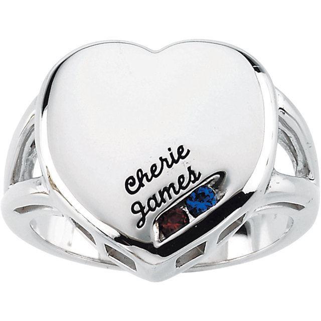 heart engraved moms ring 2 stones white