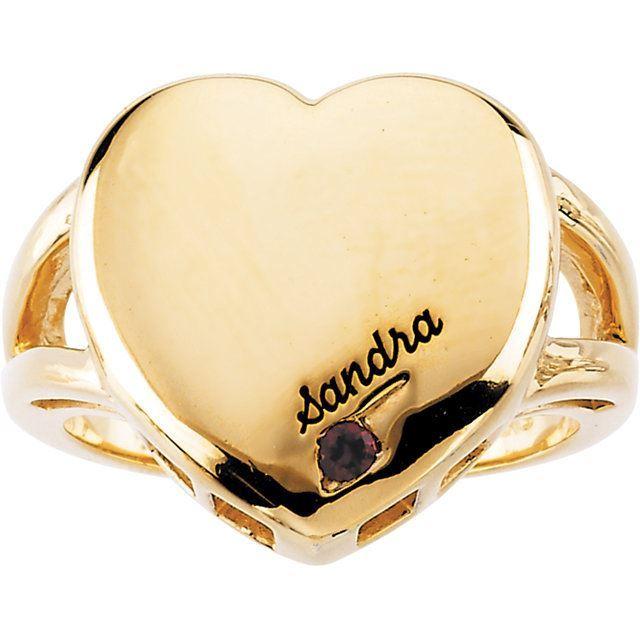 heart engraved moms ring 1 stone