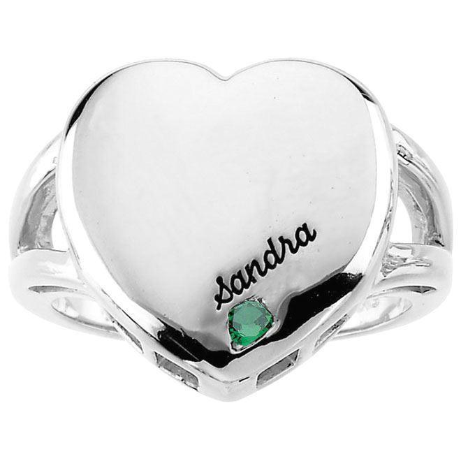 heart engraved moms ring 1 stone white