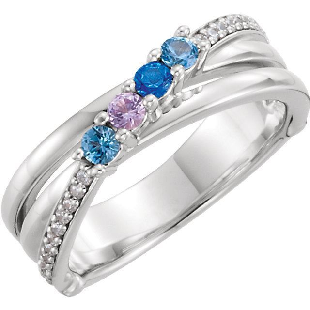 Picture of 14K Gold 4 to 6 Round Stones Mother's Ring