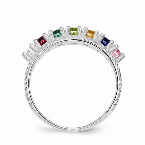 Picture of Silver 1 to 8 Round Stones Mother's Ring