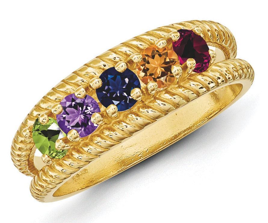 14k Polished Antiqued 8 Stone Mothers Ring Mounting