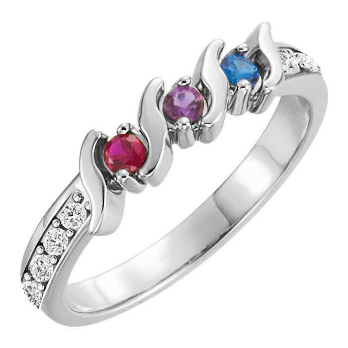 Picture of Silver 2 to 5 Round Stones Mother's Ring