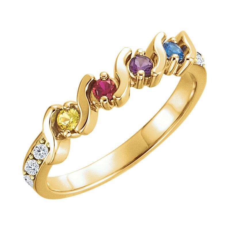 Picture of Gold 2 to 5 Round Stones Mother's Ring