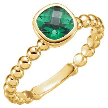 Picture of Gold 1 Antique Square Stone Stackable Ring