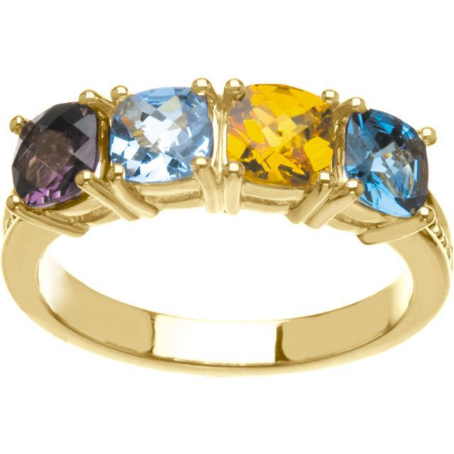 Picture of Gold 2 to 4 Antique Stones Mother's Ring