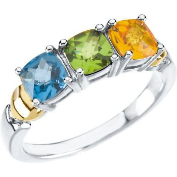 Picture of Two-Tone Gold 2 to 4 Antique Stones Mother's Ring