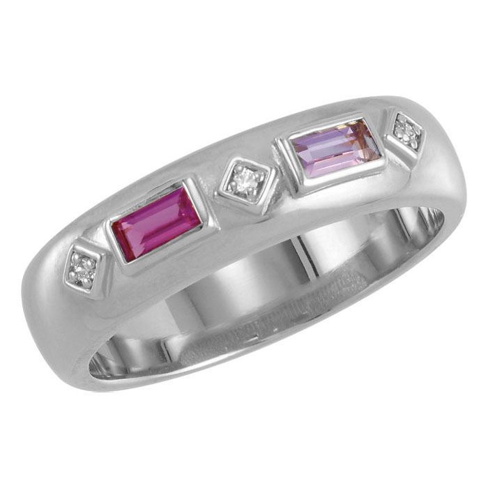 Picture of Silver 2 to 5 Baguette Stones Mother's Ring