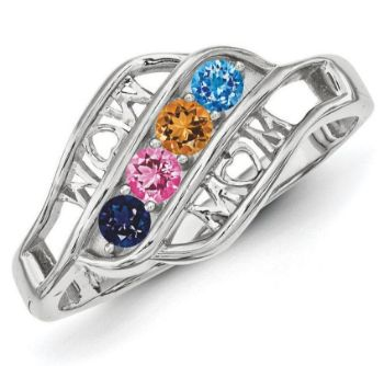 Picture of Silver 2 to 5 Round Stone Mother's Ring