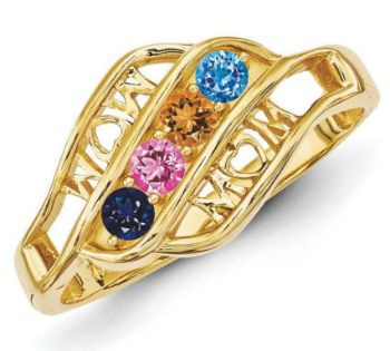 Picture of 14K Gold 2 to 5 Round Stone Mother's Ring