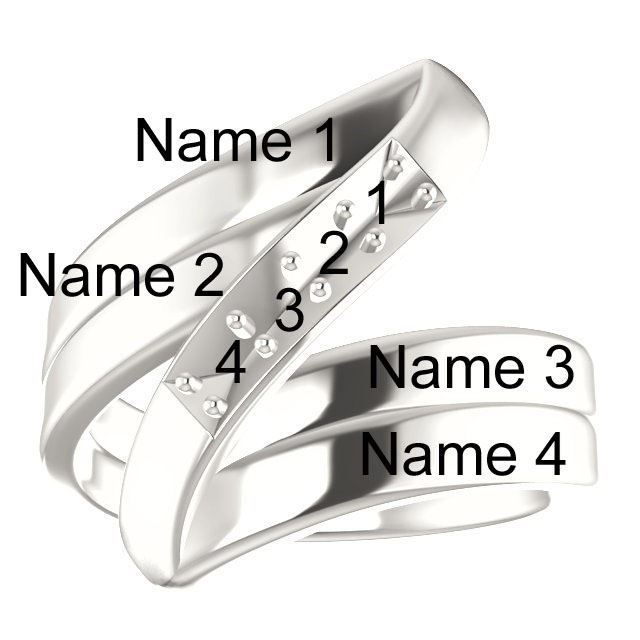 Picture of Silver 1 to 5 Stones/Names Engravable Mother Ring