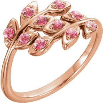 Picture of 14K Rose Baby Pink Topaz Leaf Design Ring