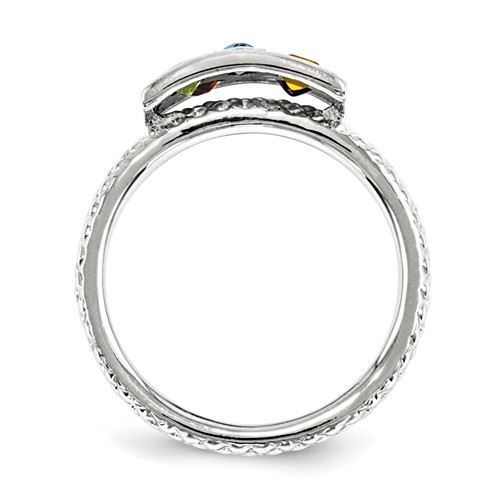 Picture of Silver Stackable Multi Color Gemstones Ring