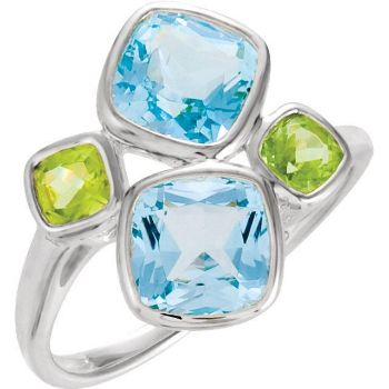 Picture of Sterling Silver Sky Blue Topaz & Peridot Ring