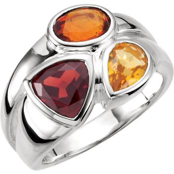 Picture of Sterling Silver Mozambique Garnet, Madeira Citrine & Citrine Ring