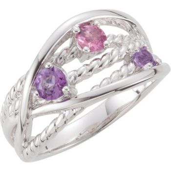 Picture of Sterling Silver Criss Cross Rope Ring