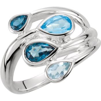 Picture of Sterling Silver Blue Topaz Ring