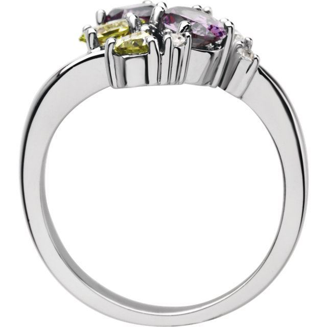 Picture of 14K White Multi-Shape Cluster Ring