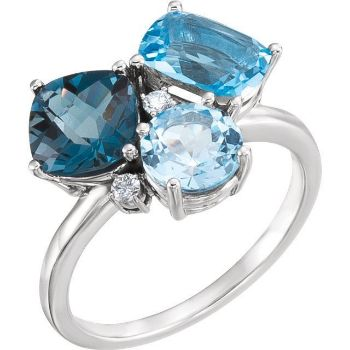 Picture of 14K White Swiss, London, & Sky Blue Topaz