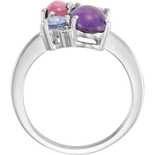 Picture of 14K White Gold Multi Color Ring