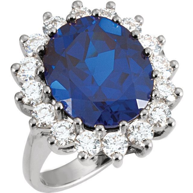 Picture of 14K White Oval Sapphire Ring