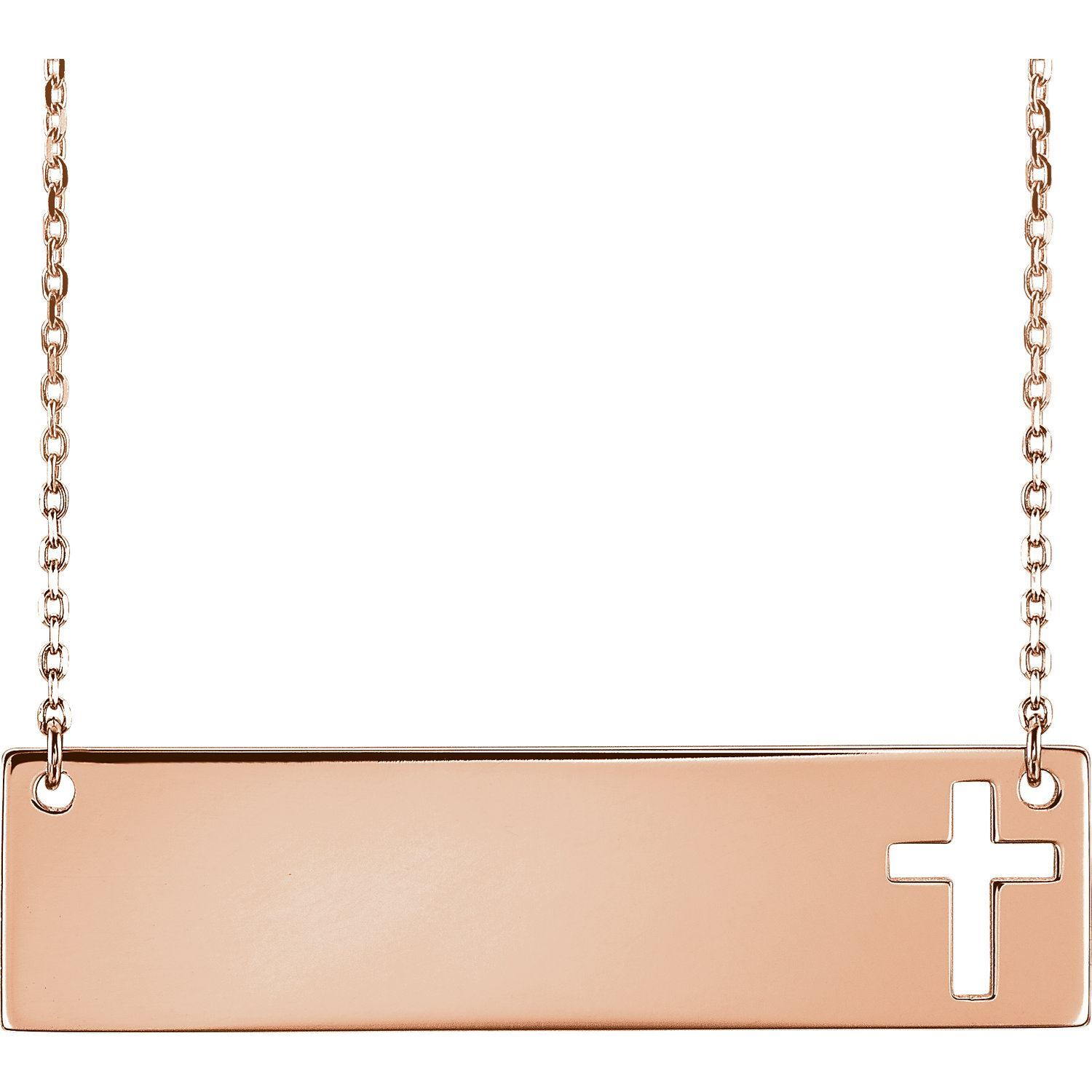 """Picture of 14K Gold Engravable Cross 16-18"""" Necklace"""