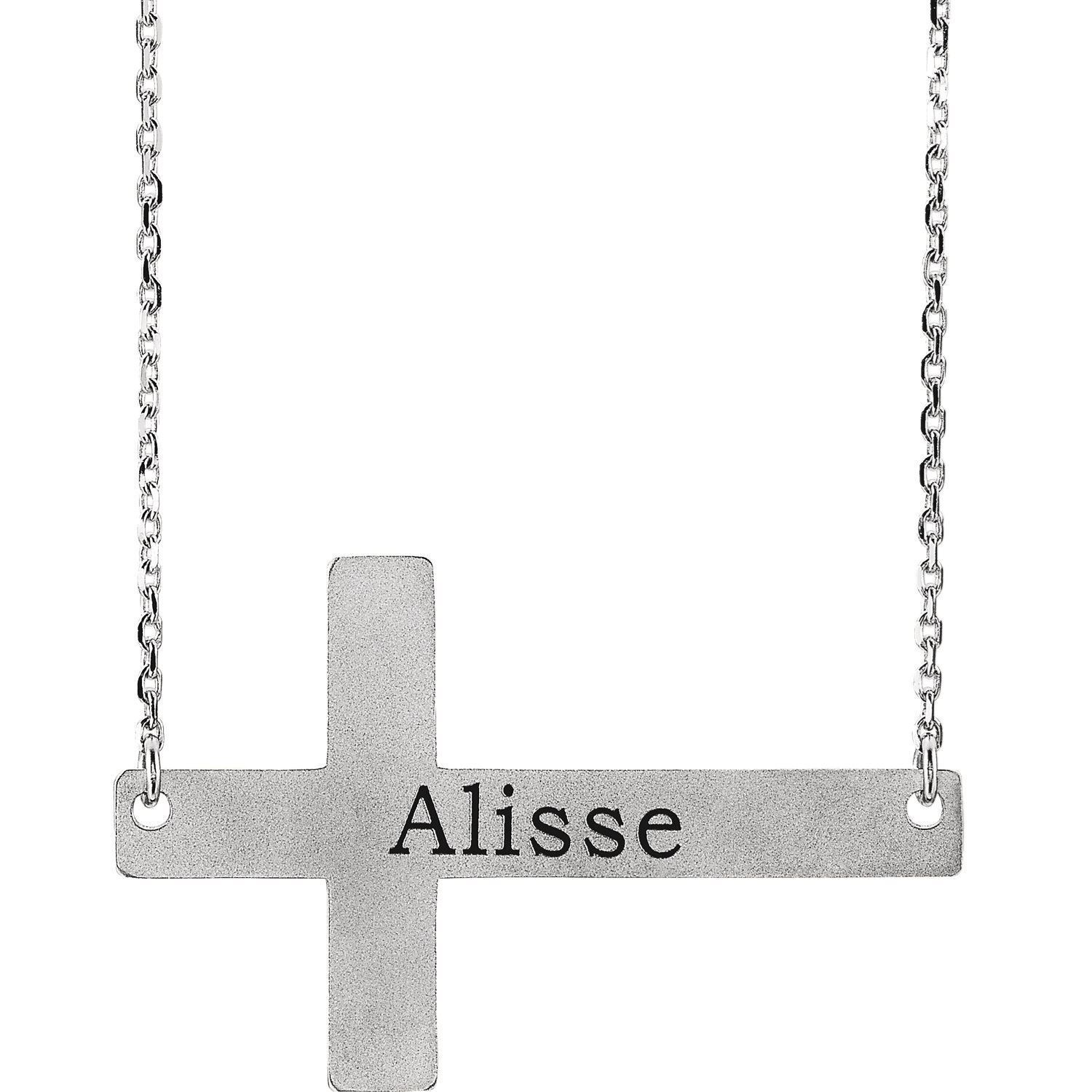 "Picture of Silver or 14K Gold Engravable Cross 16-18"" Necklace"