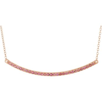 Picture of 14K Rose Gold Pink Sapphire Bar Necklace