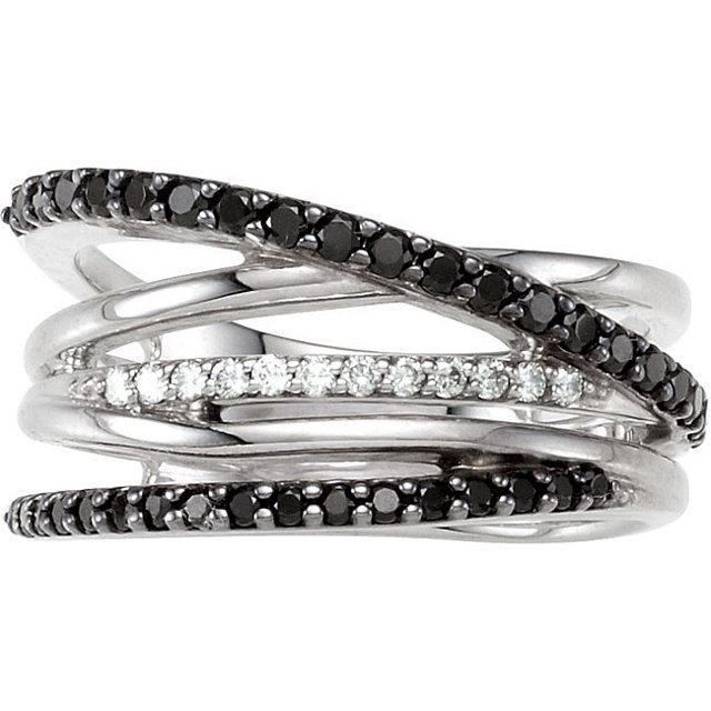 Picture of Sterling Silver Criss Cross Black Spinel & Diamond Ring