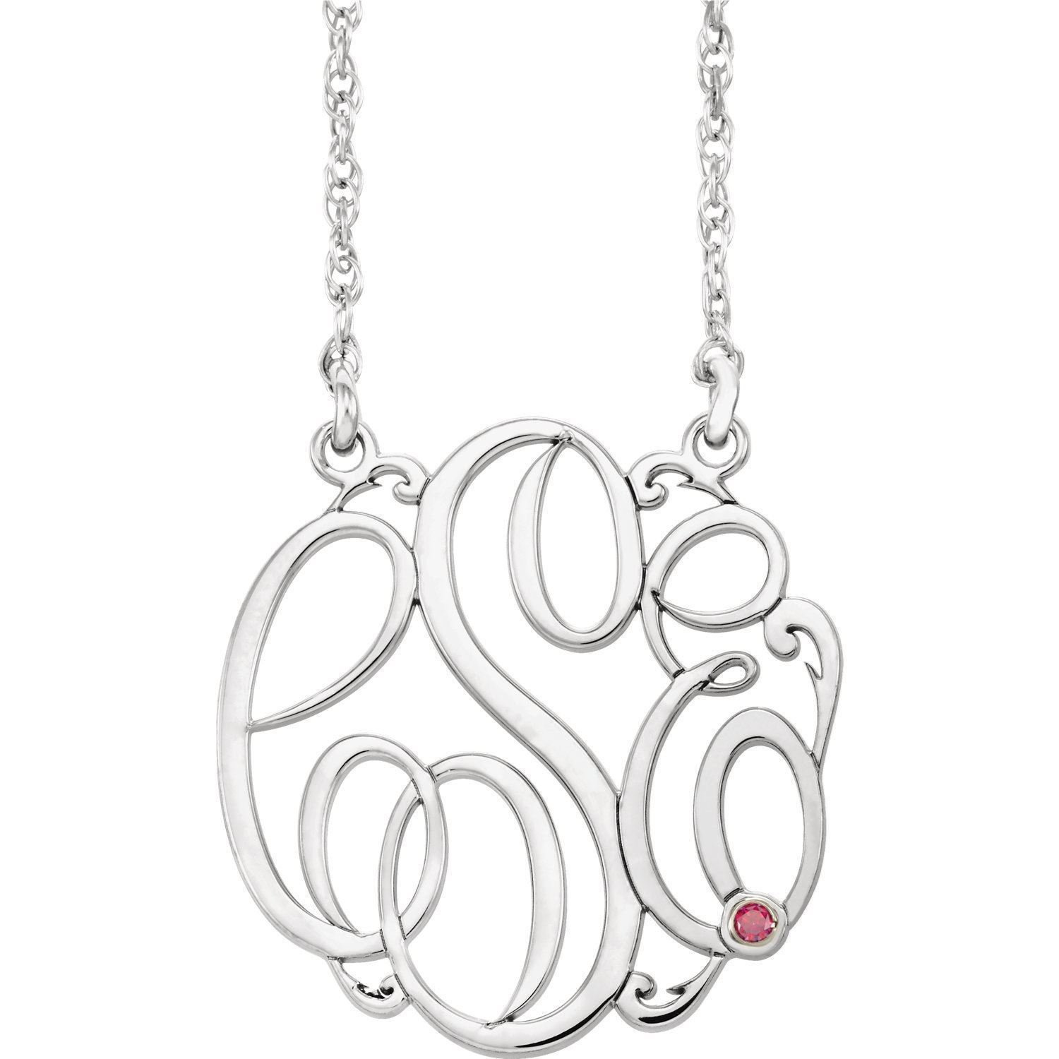 Picture of Large 32 mm 3-Letter Script Monogram Birthstone Necklace