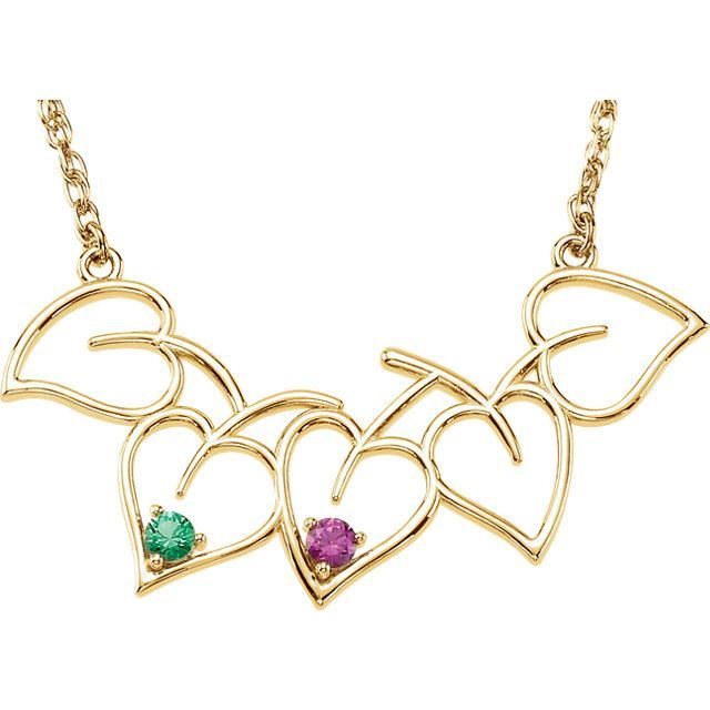Picture of Gold 1 to 5 Stones Mother's Heart Necklace