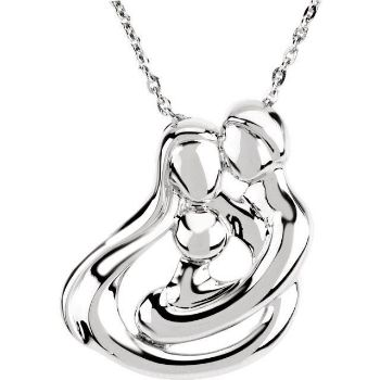 Picture of Silver 2 Parents and 1 Child Family Necklace