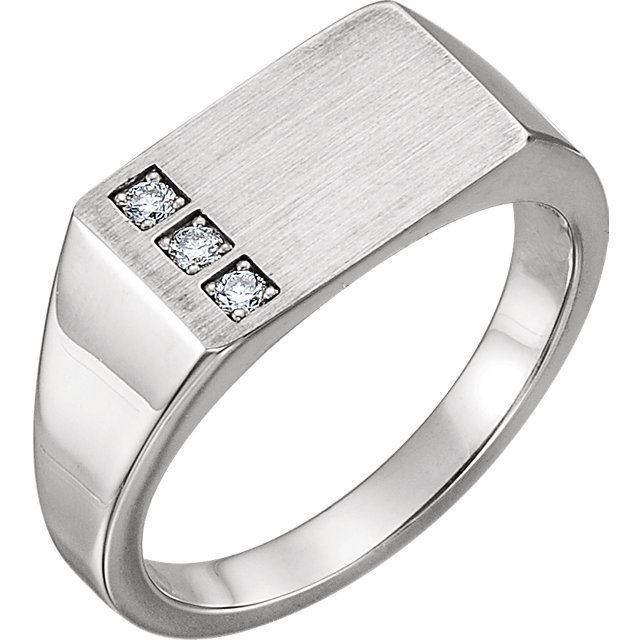 Picture of 14K White Gold Men's Signet Ring