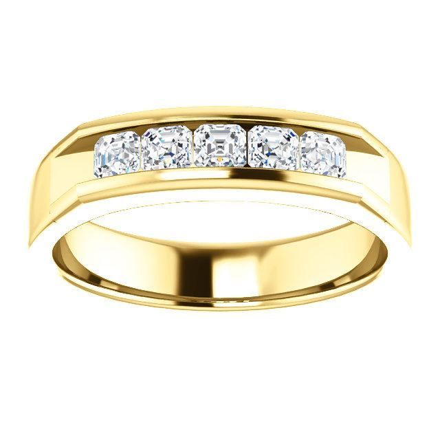 Picture of 14K Gold Men's Asscher-Cut CZ Ring
