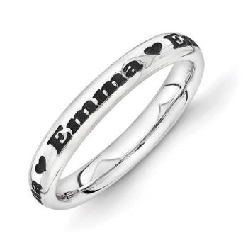 Picture of Silver Personalized with Heart Print Ring