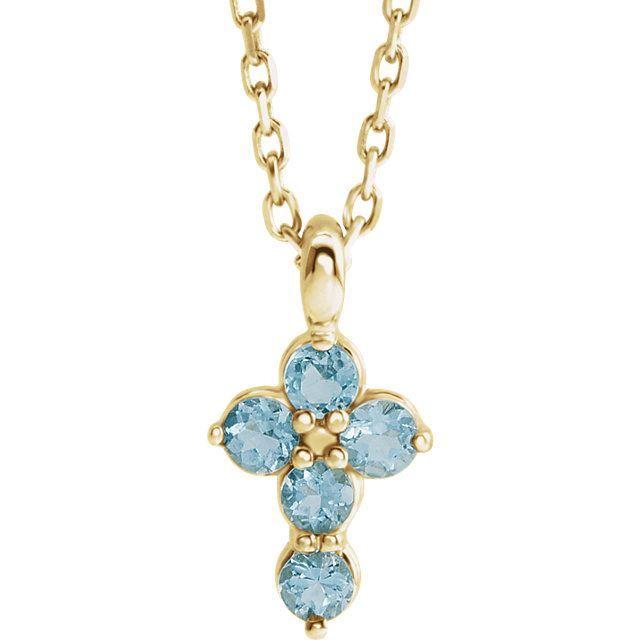 Picture of 14K Gold Aquamarine Cross Pendant