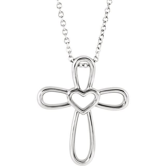 Picture of 14K Gold Open Heart Cross Pendant